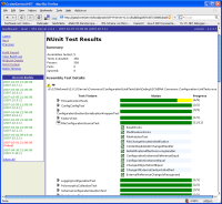 Example of a report of an automated unit test